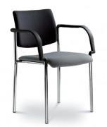 Chaise empilable pour conférence avec accoudoirs - Composition 100 % polyester - Assise et dossier capitonnés intégralement