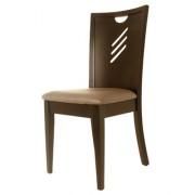 Chaise en bois avec assise rembourrée en simili cuir