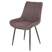 Chaise en peau de chamois - Chaise de style Mid Century en acier et peau de chamois