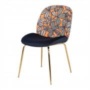 Chaise en velours et motifs - Chaise de style contemporain en acier et velours avec dossier à motifs géométriques