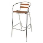 Chaise haute aluminium et bois exotique - Dossier avec 2 lattes