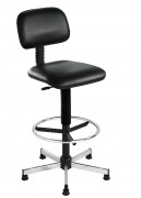 Chaise haute design avec repose-pieds fixe - Hauteur d'assise réglable par système de lift à gaz de 66 à 79 cm