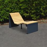 Chaise longue bois acier - Dimensions en mm (LxlxH) : 1880 x 700 x 985