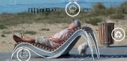 Chaise longue lattée bois composite - Bois composite recyclable élaboré à partir de copeaux de sciage de hêtre recyclés