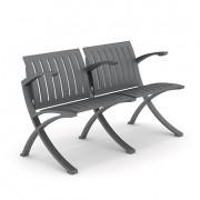 Chaise public aluminium - Assise et piètement avec accoudoir en aluminium moulé