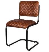 Chaise restaurant en cuir de chèvre - Dimensions : 48 x 48 x 85 cm