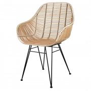 Chaise rotin naturel - Chaises bistrot avec assise et dossier en rotin