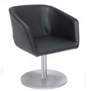 Chaise simili cuir pour salle d'attente - Composition : 89% PVC - 11% Polyester - Piétement circulaire