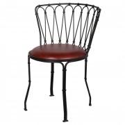 Chaise style Mid century en cuir - Chaise de style Mid century en acier et cuir
