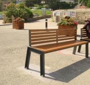 Chaise urbaine à lattes en moabi - Structure : Acier S235 JRG2