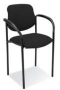 Chaise visiteur bureau - Finition simili cuir noir non feu
