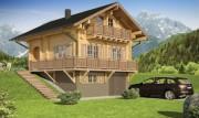 Chalet en bois contrecollé - Surface totale : 131 m2 - Ep. cloisons : 60 mm