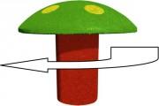 Champignon ludique caoutchouc rotatif - Hauteur : 57 cm - Diamètre : 43 cm