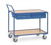 Chariot 2 plateaux avec tiroirs - Charge (kg) : 250 -  Norme EN 1757-3