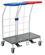 Chariot à linge 2 supports sacs - Dimensions chariot (L x l x H) en cm :  74.5 x 48.2 x 95