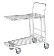 Chariot à panier rabattable - Capacité : 300 kg - Pour magasin - Emboîtable