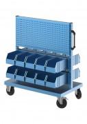 Chariot atelier double face avec bacs à bec - Chariot avec bacs à bec et panneaux perforés