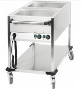 Chariot bain-marie à eau 2 cuves Gastronorme 1/1 - Thermostat à réglage progressif 0°C à 90°C par cuve