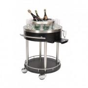 Chariot bar en inox brossé - Finition inox brossé - Diamètre : 75 cm - Hauteur : 83 cm