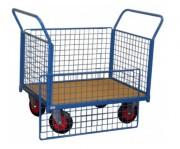 Chariot conteneur grillagé à ridelles amovibles