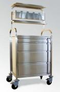 Chariot d'anesthésie à 4 tiroirs façade inox - 4 tiroirs façade inox - Hauteur (mm) : 75 - 150 - 230