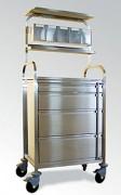 Chariot d'anesthésie avec portique supérieur - 2 modèles de chariots : sans étagère supérieure ou avec portique supérieur