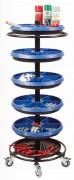 Chariot d'atelier à 5 plateaux - Dimensions (H x Ø) : 1150 x 470 mm