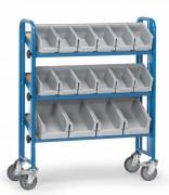 Chariot d'atelier à bacs plastique - Charge (kg) : 250 -  Norme EN 1757-3
