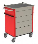 Chariot d'urgence - Structure en aluminium - Dimensions hors tout  (L x P x H) : 833 x 546 x 995 mm