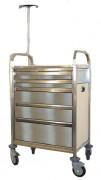 Chariot d'urgence inox - Hauteur tiroirs : 75 - 150 - 230 mm