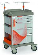 Chariot d'urgence médical complet - Maniable et robust équipé de tiroirs dim. : 662x594x1050 H