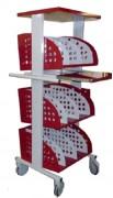Chariot de bureau démontable - H 1000 à 1599 x L 593 à 1086 x P 480 à 565 mm.