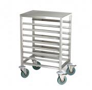 Chariot de cuisine à glissières en inox - 7 niveaux : 400 x 600 mm