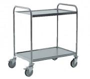 Chariot de desserte inox - 2 plateaux - Charge maximale par plateau : 40 kg