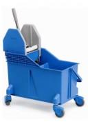 Chariot de lavage à double compartiment - Capacité : 2 x 15 litres - Dimensions (L x l x H) : 56 x 32 x 50 cm