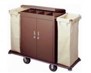 Chariot de ménage à 2 porte-sacs - 2 porte-sacs - Dimensions (L x l x H) cm :  142  x 40 x 120