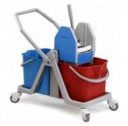 Chariot de ménage avec 2 seaux - Capacité : 2 x 25 litres - Dimensions (L x l x H) cm :  73  x 40 x 90