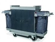 Chariot de ménage avec 2 supports sacs - Hauteur standard - avec portes rigides