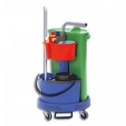 Chariot de ménage avec collecteur déchet 70L compartiment de rangmt et seau de lavage 14L bl vert - Numatic