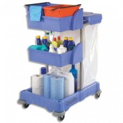 Chariot de ménage avec collecteur déchets compartiment de rangmt et 2 seaux de lavage 2x10L bleu - Numatic