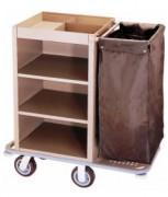 Chariot de ménage avec porte-sacs - 1 porte-sacs - Dimensions  (L x l x H) cm : 83 x 46 x 112