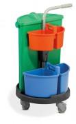 Chariot de ménage modulable - Collecteur de déchet  (vert) : 70 L - Sac à déchets : 120 L