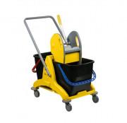 Chariot de nettoyage à 2 seaux avec presse - Capacité : 2 x 25 litres - Dimensions (LxPxH) : 810 x 435 x 880 mm