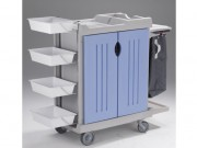 Chariot de nettoyage de change / toilette - Structure polyéthylène monobloc- Dimension : 700 x 460 mm.