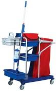 Chariot de nettoyage sur roulettes - Dimensions chariot (LxIxH)en cm :  112 x 116 x 53