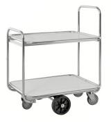 Chariot de préparation de commande à 2 tablettes - Charge : 300 kg - 4 roulettes fixes et 2 pivotantes