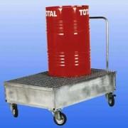 Chariot de rétention 2 fûts - En acier - Capacité de rétention : 220 litres