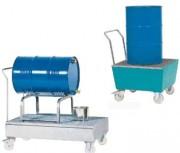 Chariot de rétention à 4 roulettes - En  acier avec caillebotis et 4 roulettes dont 2 directrices