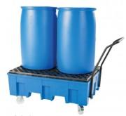 Chariot de rétention pour fûts à 200 L - Capacité :1 ou 2 fûts de 200 Litres