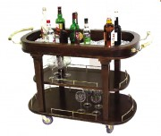 Chariot de service bar en bois - Poignées en laiton massif argenté